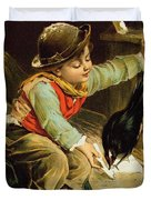 Young Boy With Birds In The Snow Duvet Cover by English School