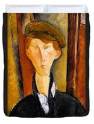 Young Man With Cap Duvet Cover by Amedeo Modigliani