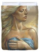 Young Woman With Blue Drape Crop Duvet Cover by Zorina Baldescu