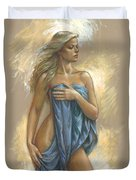 Young Woman With Blue Drape Duvet Cover by Zorina Baldescu