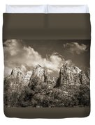 Zion Court Of The Patriarchs In Sepia Duvet Cover by Tammy Wetzel