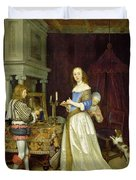 A Lady At Her Toilet Duvet Cover by Gerard ter Borch