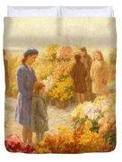 Flower Market  Duvet Cover by Hendrik Heyligers