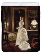 Interior Scene With A Lady In A White Evening Dress  Duvet Cover by Paul Fischer