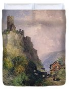 The Castle Of Katz On The Rhine Duvet Cover by William Callow