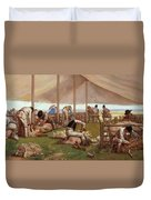 The Sheep Shearing Match Duvet Cover by Eyre Crowe