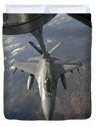 A Chilean Air Force F-16 Refuels Duvet Cover by Giovanni Colla