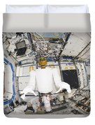 A Humanoid Robot In The Destiny Duvet Cover by Stocktrek Images