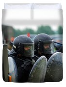 A Training Session In Riot And Crowd Duvet Cover by Luc De Jaeger