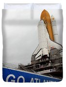 A View Space Shuttle Atlantis On Launch Duvet Cover by Stocktrek Images