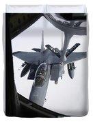 Air Refueling A F-15e Strike Eagle Duvet Cover by Daniel Karlsson