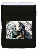 An Army Ranger Sets Up An Anpaq-1 Laser Duvet Cover by Stocktrek Images