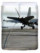 An Fa-18c Hornet Makes An Arrested Duvet Cover by Stocktrek Images