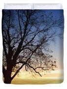 Bare Tree At Sunset Duvet Cover by Skip Nall