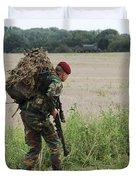 Belgian Paratroopers Red Berets Duvet Cover by Luc De Jaeger