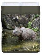 Indian Rhinoceros Rhinoceros Unicornis Duvet Cover by Konrad Wothe