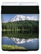 Mt Rainier Reflected In Lake Mt Rainier Duvet Cover by Tim Fitzharris