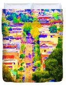 Noe Street In San Francisco 2 Duvet Cover by Wingsdomain Art and Photography