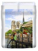 Restaurant On Seine Duvet Cover by Elena Elisseeva