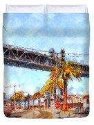 San Francisco Bay Bridge At The Embarcadero . 7d7706 Duvet Cover by Wingsdomain Art and Photography