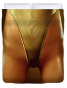 Sexy Covered With Gold Woman In High Cut Swimsuit Duvet Cover by Oleksiy Maksymenko
