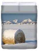 Snow-covered Hay Bales Okotoks Duvet Cover by Michael Interisano