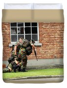 Soldiers Of The Belgian Army Helping Duvet Cover by Luc De Jaeger