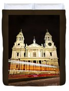 St. Paul's Cathedral In London At Night Duvet Cover by Elena Elisseeva