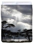 Sunlight Shining Through The Dark Duvet Cover by David DuChemin
