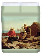 The Boat Builders Duvet Cover by Winslow Homer