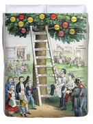 The Ladder Of Fortune Duvet Cover by Currier and Ives