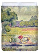 The Promenade in the Bois de Boulogne Duvet Cover by Henri-Edmond Cross