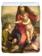 The Virgin and Child with a Saint and an Angel Duvet Cover by Andrea del Sarto