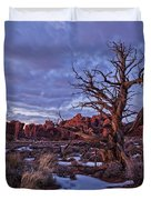 Timed Exposure Of Sunset Clouds Duvet Cover by Robert Postma