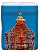 Tokyo Tower Faces Blue Sky Duvet Cover by Ulrich Schade