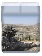 U.s Army Soldier Scans His Sector Duvet Cover by Stocktrek Images