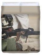 U.s. Marine Firing A Pk 7.62mm Machine Duvet Cover by Terry Moore