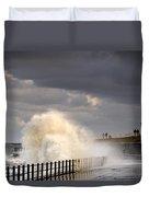 Waves Crashing, Sunderland, Tyne And Duvet Cover by John Short
