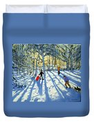 Woodland In Winter Duvet Cover by Andrew Macara