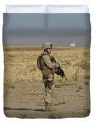 U.s. Marine Patrols A Wadi Near Kunduz Duvet Cover by Terry Moore