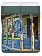 1860 Log Cabin Porch Duvet Cover by Linda Phelps