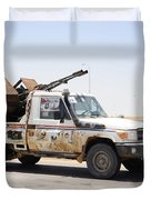 A Free Libyan Army Pickup Truck Duvet Cover by Andrew Chittock