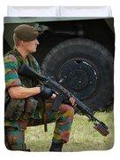 A Soldier Of An Infantry Unit Duvet Cover by Luc De Jaeger