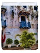 Colonial buildings in old Cartagena Colombia Duvet Cover by David Smith