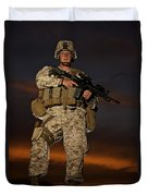 Portrait Of A U.s. Marine In Uniform Duvet Cover by Terry Moore