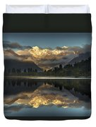Sunset Reflection Of Lake Matheson Duvet Cover by Colin Monteath