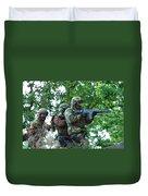 Belgian Paratroopers Proceeding Duvet Cover by Luc De Jaeger