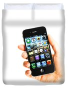 Hand Holding An Iphone Duvet Cover by Photo Researchers