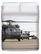 Uh-60 Black Hawks Taxis Duvet Cover by Terry Moore
