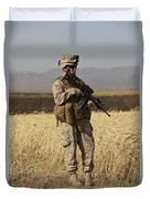 U.s. Marine Patrols A Wadi Near Kunduz Duvet Cover by Terry Moore